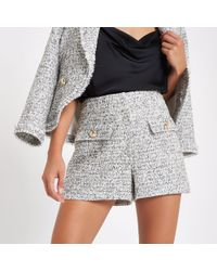 River Island - White Check Boucle Short - Lyst
