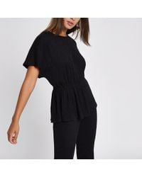 River Island - Black Textured Ruched Side T-shirt - Lyst