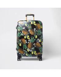 River Island | Black Pineapple Large Four Wheel Suitcase Black Pineapple Large Four Wheel Suitcase | Lyst