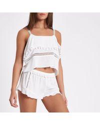 River Island - White Frill Hem Pom Pom Pyjama Shorts - Lyst