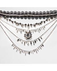 River Island - Black Lace Choker Jewel Drape Necklace - Lyst