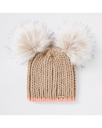 60a35dfff96 Lyst - River Island Cream Double Pom Pom Knit Beanie Hat in Natural