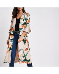 River Island - Light Pink Tropical Print Duster Coat - Lyst