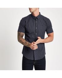 River Island - Navy Pinstripe Muscle Fit Short Sleeve Shirt - Lyst