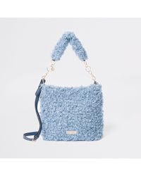 River Island - Textured Fleece Slouch Bag - Lyst