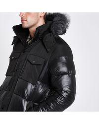 River Island - Black Faux Fur Trim Hooded Long Puffer Jacket - Lyst