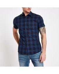 River Island - Jack And Jones Core Blue Check Shirt - Lyst