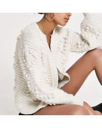 River Island - Cream Bobble Heart Knit Cardigan - Lyst