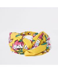 River Island - Yellow Floral Twist Knot Hairband - Lyst
