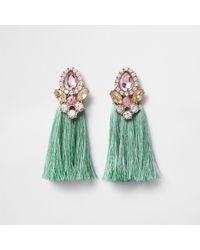 River Island - Mint Green Tassel Jewel Embellished Earrings - Lyst