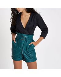 River Island - Blue Faux Leather High Waisted Paperbag Short - Lyst