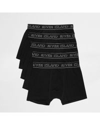 River Island - Black Ri Branded Trunks Multipack - Lyst