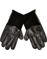 River Island - Black Leather Zip Side Gloves - Lyst