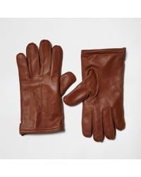 River Island - Tan Leather Gloves - Lyst
