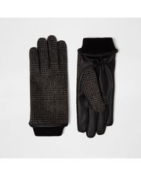 River Island - Grey Check Gloves - Lyst