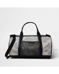 River Island - Black Camouflage Print Holdall Bag - Lyst