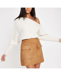 River Island - Light Brown Suede Mini Skirt - Lyst
