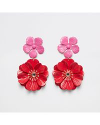 River Island - Red Double Flower Stud Drop Earrings - Lyst
