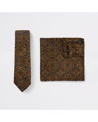 River Island - Black Baroque Print Tie And Handkerchief Set - Lyst