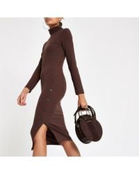 River Island - Roll Neck Bodycon Midi Dress - Lyst