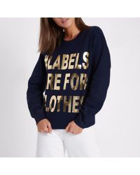 River Island - Navy Ditch The Label Charity Sweatshirt - Lyst