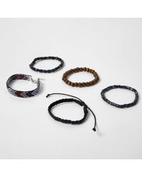 River Island - Black Bead Bracelet Multipack - Lyst