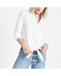 River Island - Tie Front Rhinestone Button Shirt - Lyst
