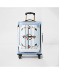 River Island | Blue Stripe Embroidered Four Wheel Suitcase Blue Stripe Embroidered Four Wheel Suitcase | Lyst