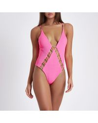 River Island - Pink Shirred Bar Cut Out Plunge Swimsuit - Lyst