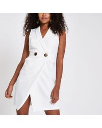 River Island - White Bodycon Wrap Tux Mini Dress - Lyst