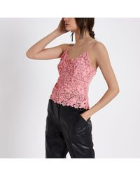 River Island - Light Pink Lace Cami Bralet - Lyst