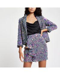 River Island - Purple Sequin Boucle Ruffle Mini Skirt - Lyst