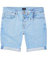 River Island - Light Blue Skinny 90s Denim Shorts - Lyst