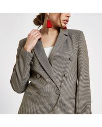 River Island - Heritage Check Double Breasted Blazer - Lyst