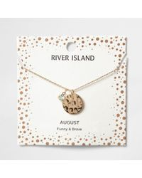 River Island | Light Green Gem August Birthstone Necklace | Lyst