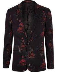 River Island - Black Floral Skinny Suit Jacket - Lyst