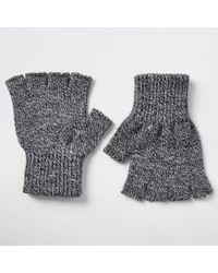 River Island - Grey Knit Fingerless Gloves - Lyst