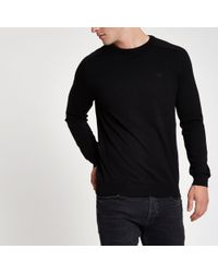 River Island - Black Slim Fit Crew Neck Sweater - Lyst
