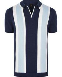River Island - Big & Tall Blue Stripe Revere Knit Polo Shirt - Lyst