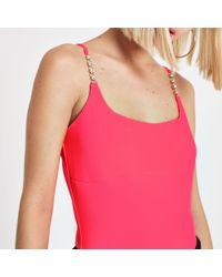 River Island - Bright Pink Ribbed Diamante Strap Bodysuit - Lyst