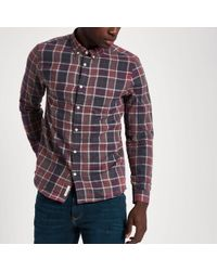 River Island - Red Check Long Sleeve Button-down Shirt - Lyst