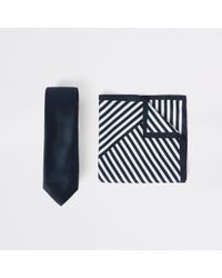 River Island - Navy Satin Tie And Stripe Handkerchief Set - Lyst