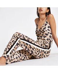 River Island - Brown Leopard Print Loungewear Jumpsuit - Lyst