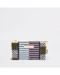 River Island - Yellow Check Print Foldout Purse - Lyst
