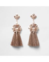 River Island | Rose Gold Tone Jewel Tassel Drop Earrings Rose Gold Tone Jewel Tassel Drop Earrings | Lyst
