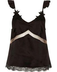 River Island | Black Satin Applique Strap Lace Pyjama Top | Lyst