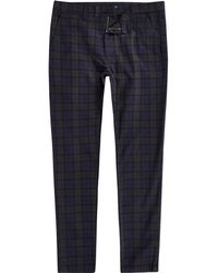 River Island - Green Check Skinny Chino Trousers - Lyst