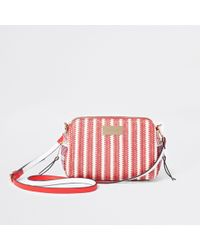 River Island - Red Mixed Weave Cross Body Bag - Lyst