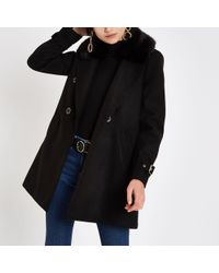 River Island - Black Faux Fur Collar Double Breasted Coat - Lyst