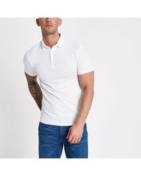 7f67fe01 River Island Off White Textured Polo Neck in White for Men - Lyst